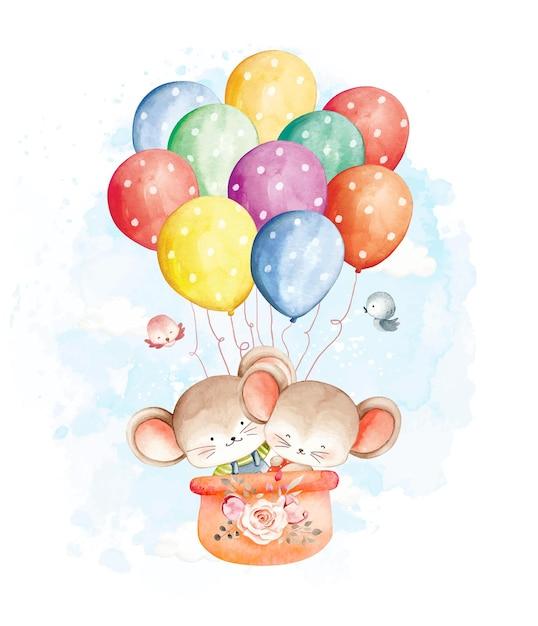 Акварельная мышь, летящая с воздушными шарами Premium векторы