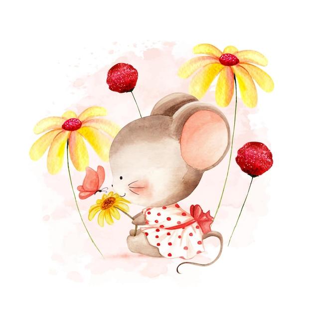 Акварельная мышь с цветком Premium векторы