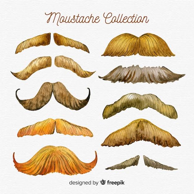 Watercolor movember mustache collection Free Vector