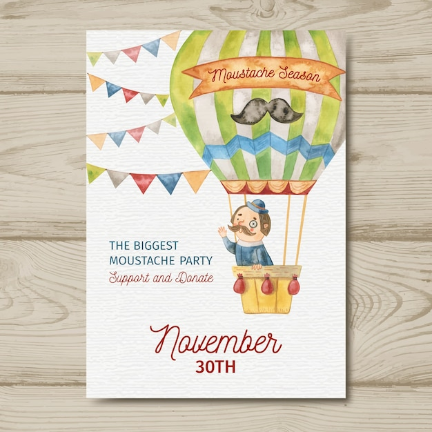 Watercolor movember mustache poster template with man in hot air balloon Free Vector