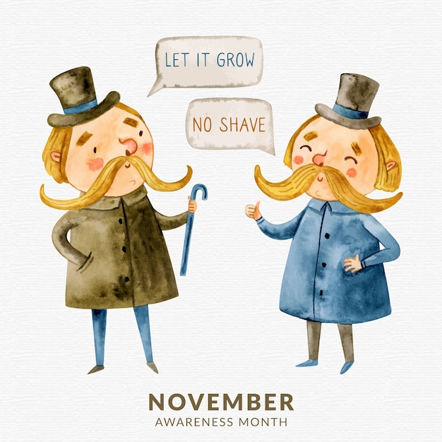 Watercolor movember no shave background with gentleman chatting Free Vector