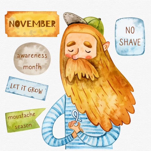 Watercolor movember no shave background with hipster Free Vector