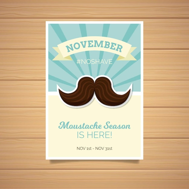 Watercolor movember poster template in flat design Free Vector