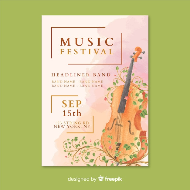 Watercolor music festival poster template Free Vector