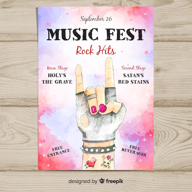 Watercolor music festival poster Free Vector