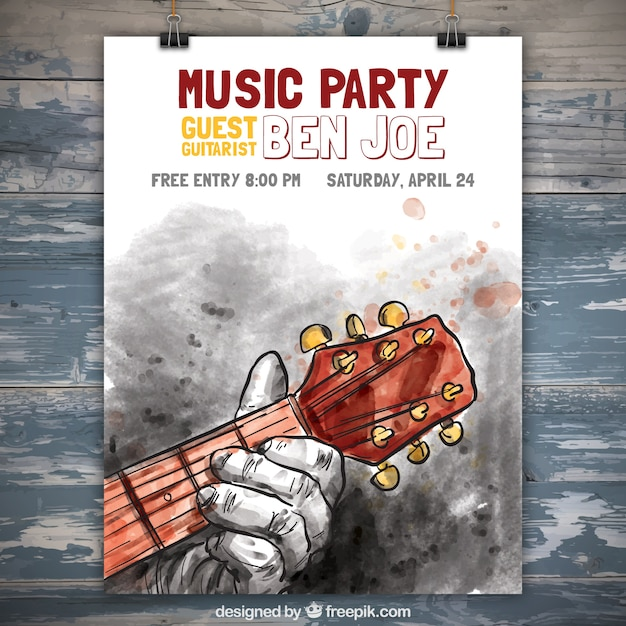Watercolor music party poster with man playing the guitar Free Vector