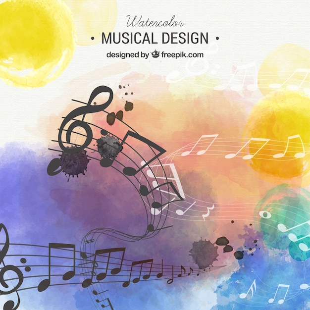 Watercolor musical background Free Vector