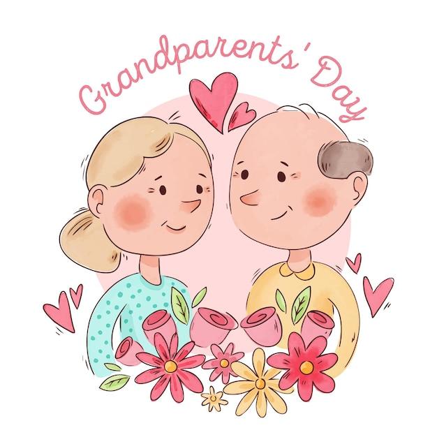 Tema di giorno nazionale dei nonni dell'acquerello Vettore gratuito