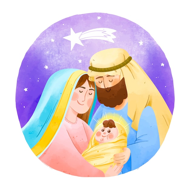 Watercolor nativity scene concept Free Vector