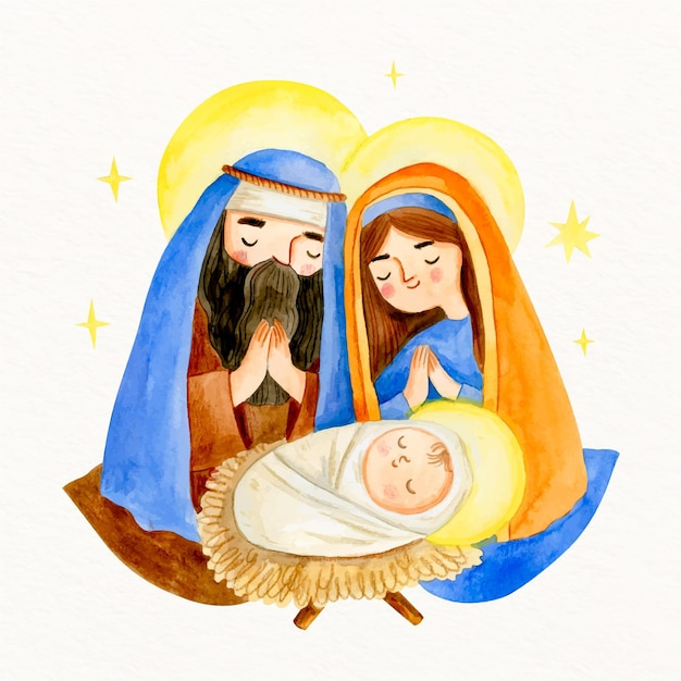 Акварельный вертеп с младенцем иисусом Бесплатные векторы