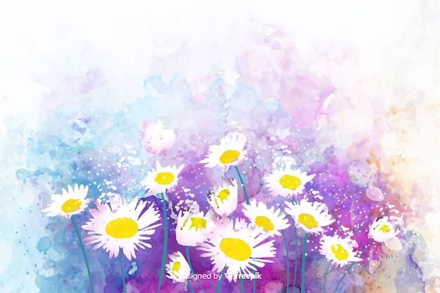 Watercolor natural background with daisies Free Vector