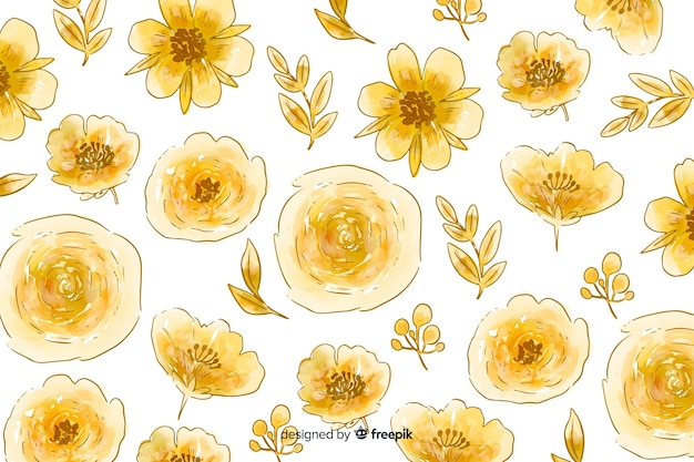 Watercolor natural background with flowers Free Vector