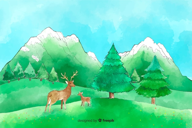 Watercolor natural background with landscape Free Vector