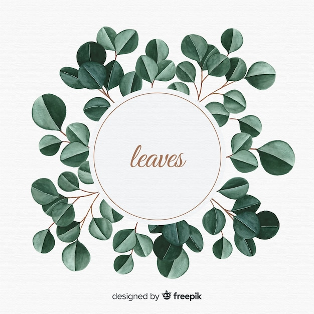 Watercolor natural background with leaves Free Vector