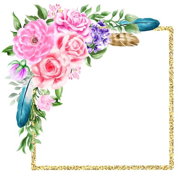 Watercolor natural boho floral flower feather frame border Premium Vector