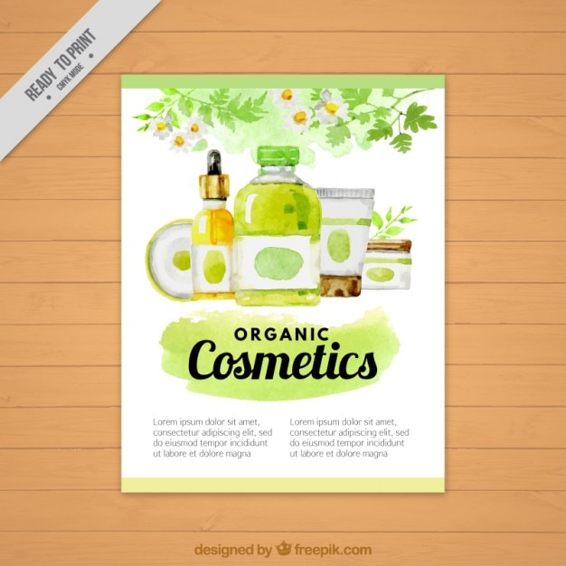 Watercolor natural cosmetic products flyer Free Vector