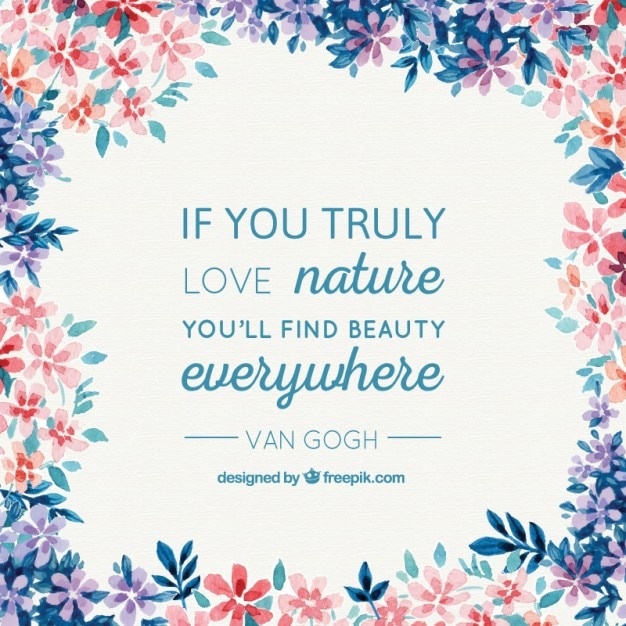 Watercolor nature background with a Van Gogh quote Free Vector