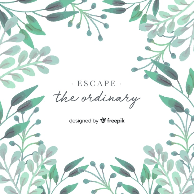 Watercolor nature background with quote Free Vector