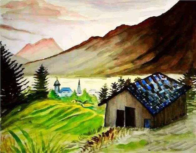Watercolor nature hill landscape view hand drawn illustration Premium Vector