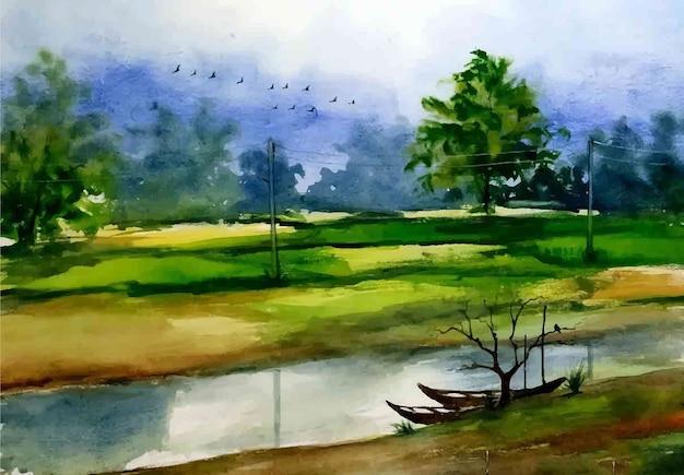 수채화 자연 풍경과 시골 마을 생활 손으로 그린 그림 프리미엄 벡터