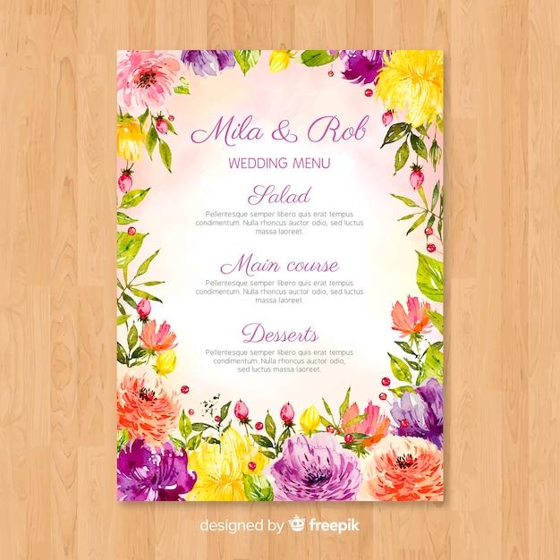 Watercolor nature wedding menu template Free Vector