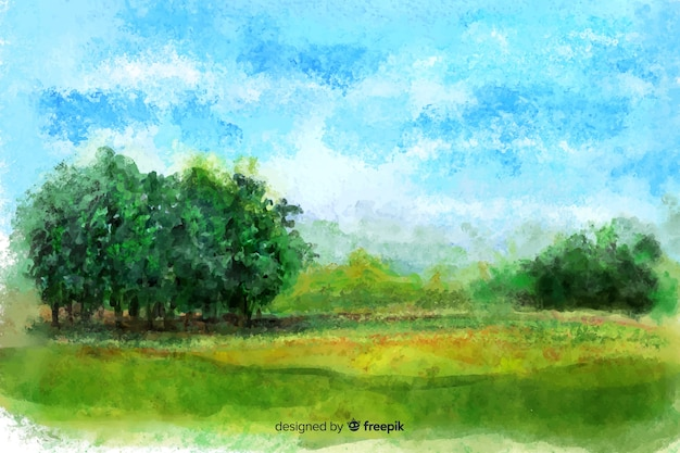 Watercolor natutral landscape with trees Free Vector