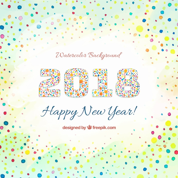 Watercolor new year 2018 background with circles Free Vector