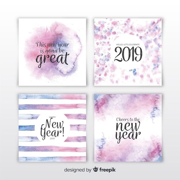 Watercolor new year 2019 cards set Free Vector