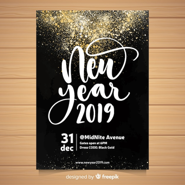 Watercolor new year 2019 party flyer Free Vector