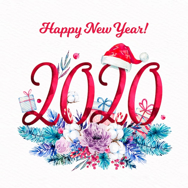 Watercolor new year 2020 background Free Vector