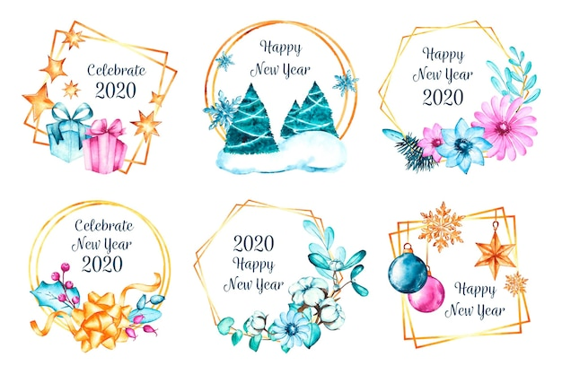 Watercolor new year 2020 badge collection Free Vector