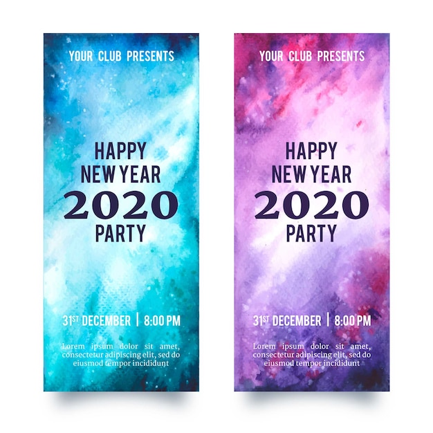 Watercolor new year 2020 party banners set Free Vector