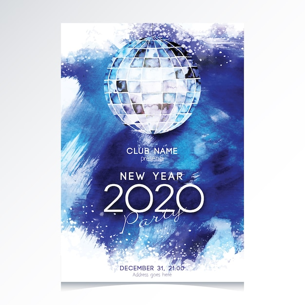 Watercolor new year 2020 party flyer template Free Vector