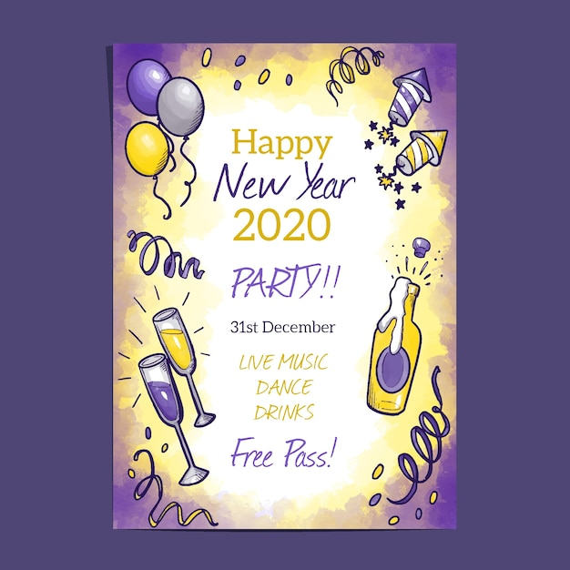 Watercolor new year 2020 party poster template Free Vector