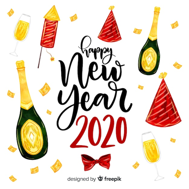 Watercolor new year 2020 with champagne Free Vector