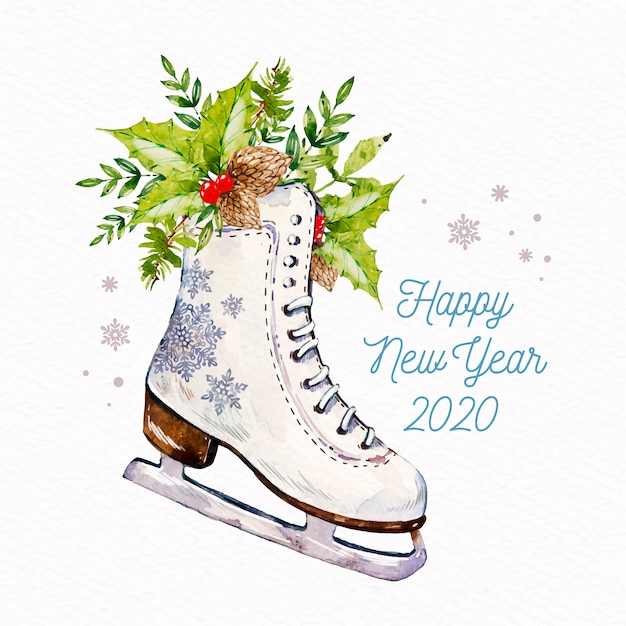 Watercolor new year 2020 Free Vector