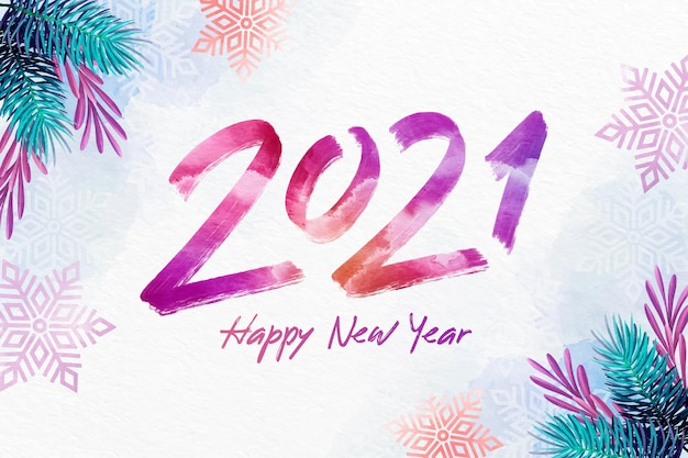 Watercolor new year 2021 background Free Vector