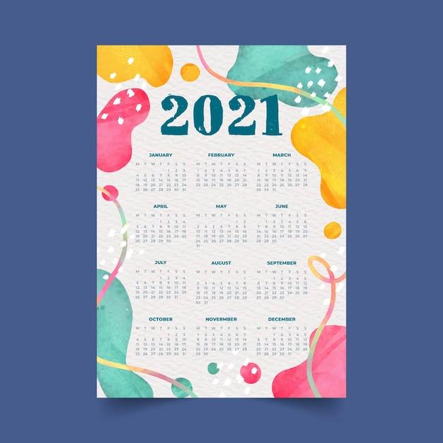 추상적 인 색된 도형으로 수채화 새 해 2021 달력 프리미엄 벡터