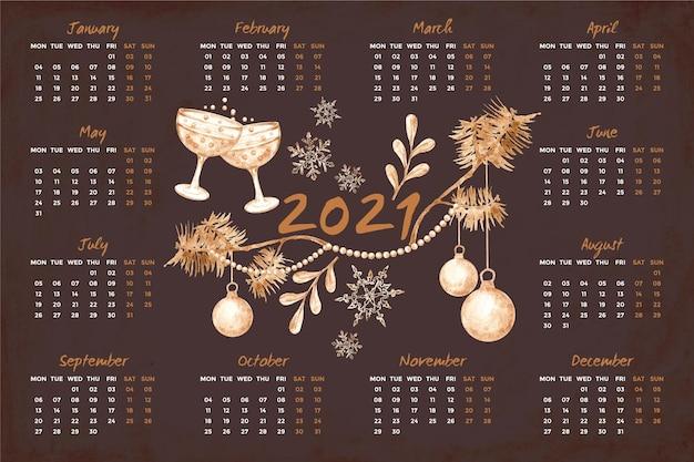 Акварельный календарь на новый год 2021 Premium векторы