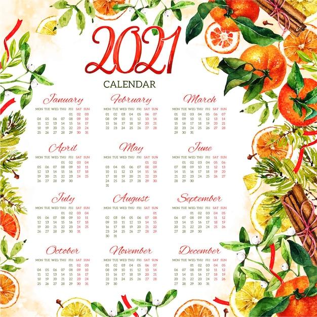 Акварельный календарь на новый год 2021 Бесплатные векторы