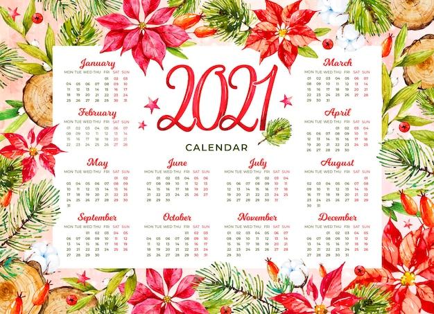 Watercolor new year 2021 calendar Free Vector
