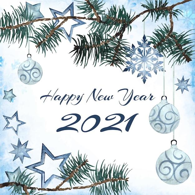 Акварель новый год 2021 Premium векторы
