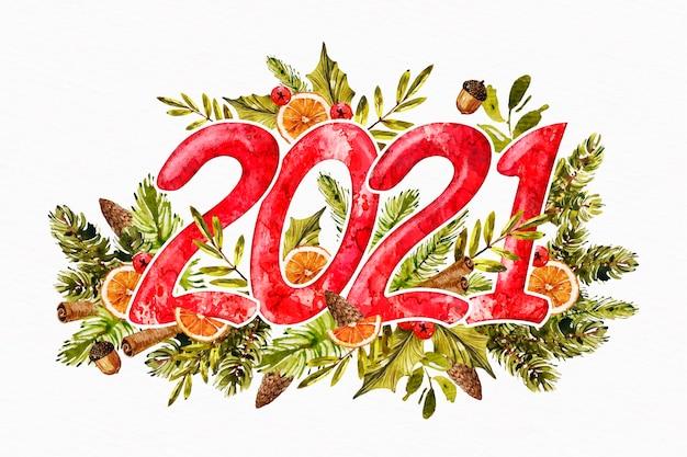 Акварель новый год 2021 Бесплатные векторы