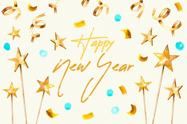Watercolor new year background Free Vector