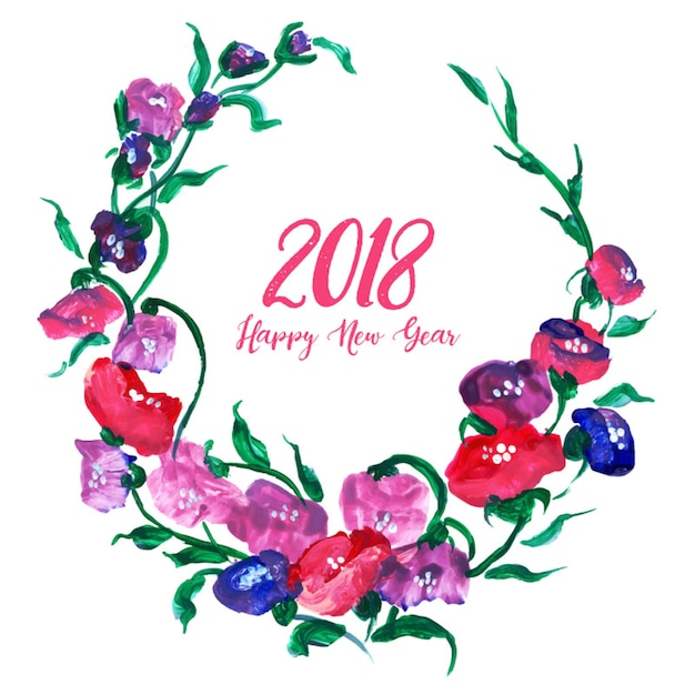 free download watercolor new year floral background