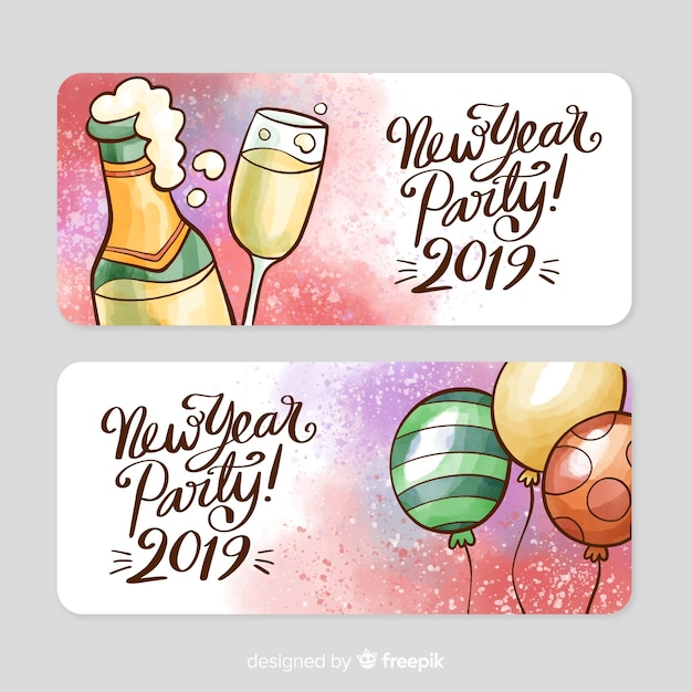 watercolor new year party banner free vector