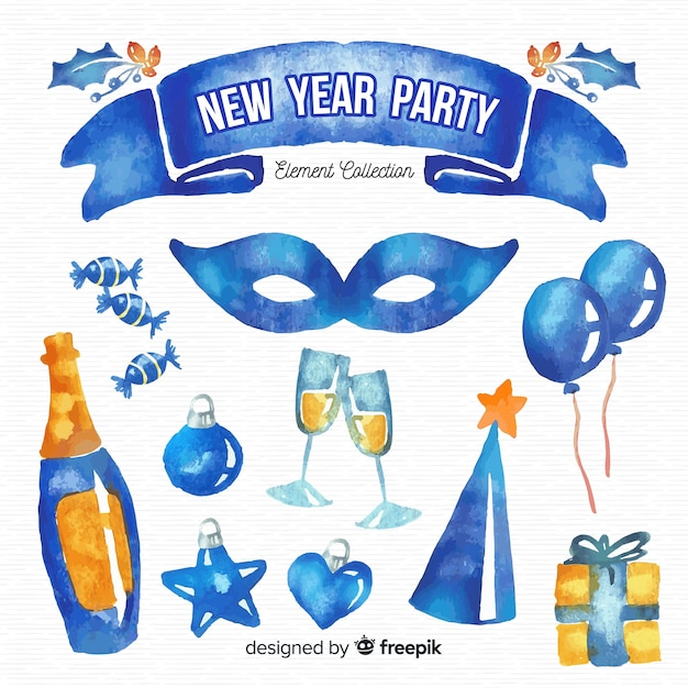 Watercolor new year party element collection Free Vector