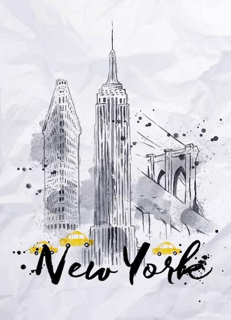 Watercolor new york buildings Premium Vector