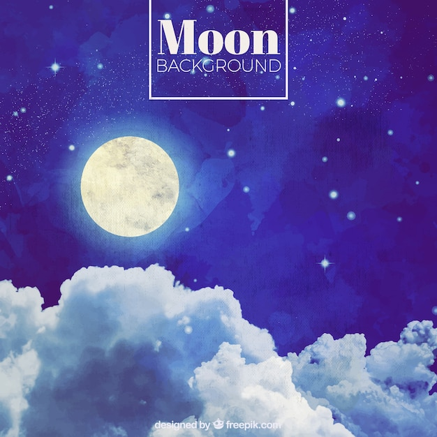 watercolor night sky background with moon vector free