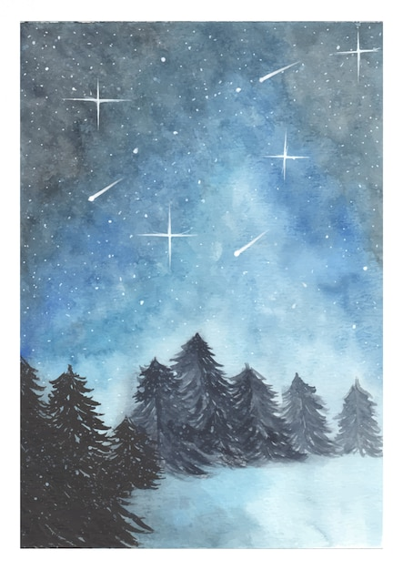 Watercolor night sky background Premium Vector